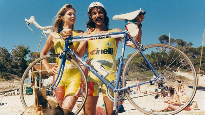 A. Spitzer (GER) and S. Ferrero (ITA) end of the 80s at the Quadrathlon in Ibiza